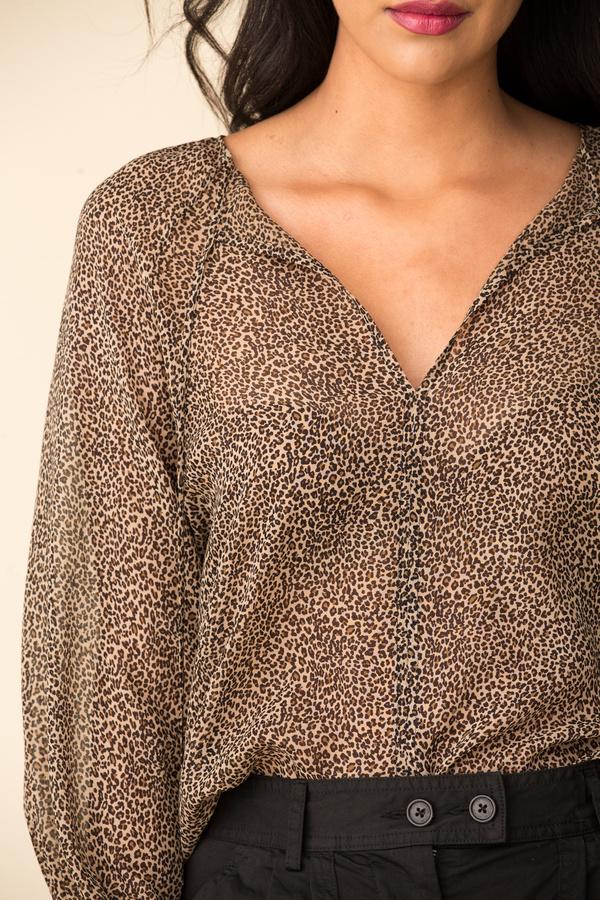 Nili Lotan Rosette Top - Khaki/Micro Leopard Print