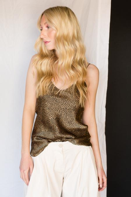Nili Lotan Isabella Cami Top - KhakiMicro Leopard Print