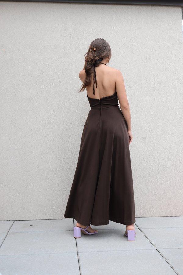 Vintage 70s Halter Maxi Dress - Brown