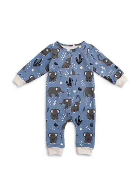 kids Winter Water Factory French Terry Jumpsuit - Elephants Blue