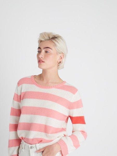Jumper 1234 Secret Stripe Sweater in Floss - Cream + Crimson