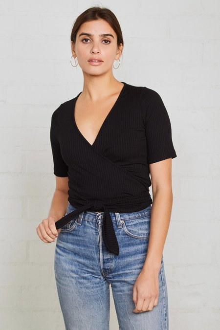 Rachel Pally Rib Wrap Top - Black