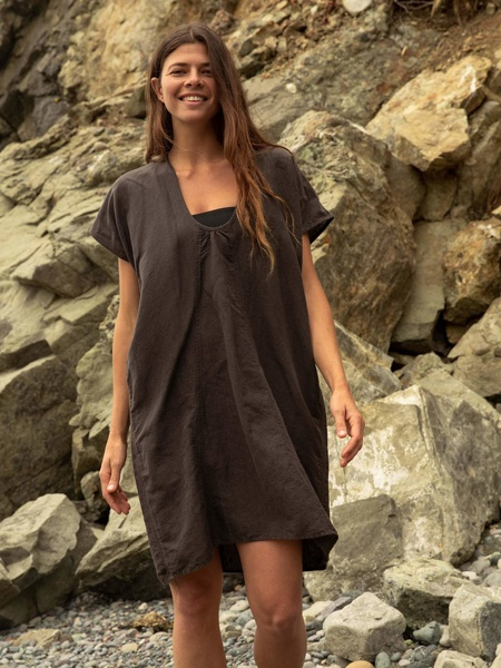 Mollusk Oversized Cover Up Dress - black