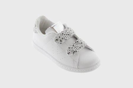 Kids Victoria Double Velcro Shoe - Glitter/Silver