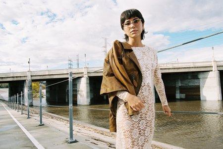 Vintage See Through Lace Midi Dress - Cream