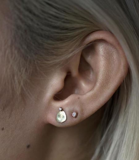 WWAKE Medium Disc Stud with Diamond Single Earring - 14K Gold