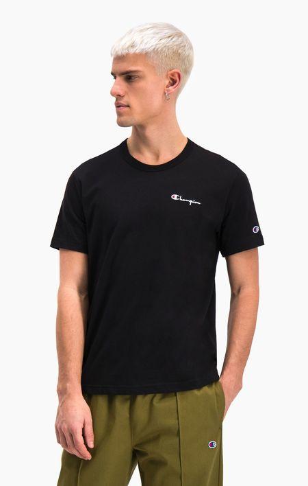 Champion Back Script Crewneck T Shirt- Black