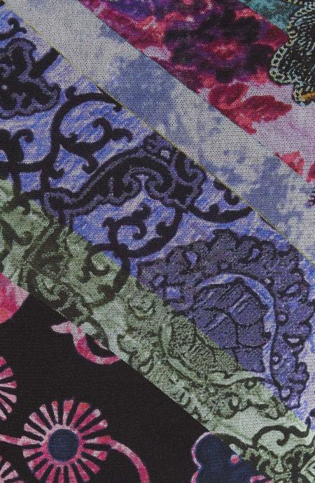 Fuzzi sleeveless patchwork turtleneck blouse