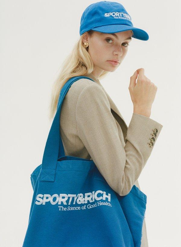 Sporty & Rich Science logo tote - sport blue/white print