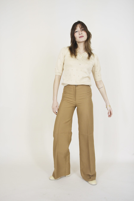 Vintage Cool Tailored Trousers - Camel