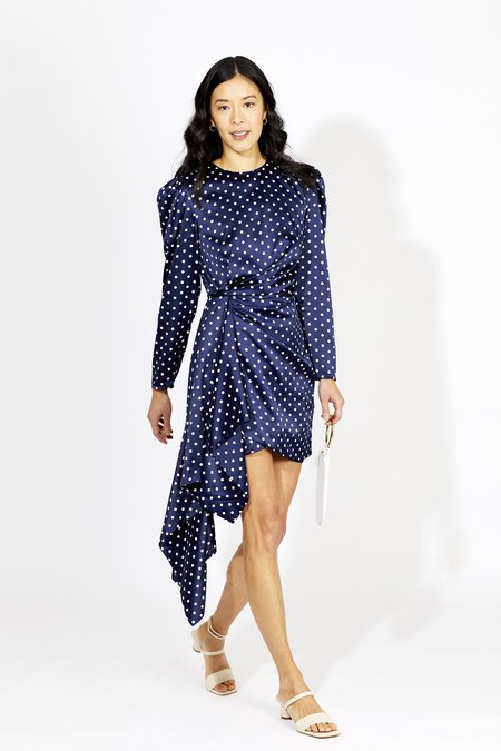 Keepsake Foolish Mini Dress - Navy Polka Dot