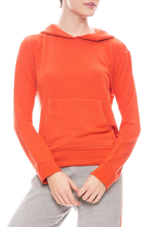 Monrow Super Soft Kangaroo Pullover - Electric Coral