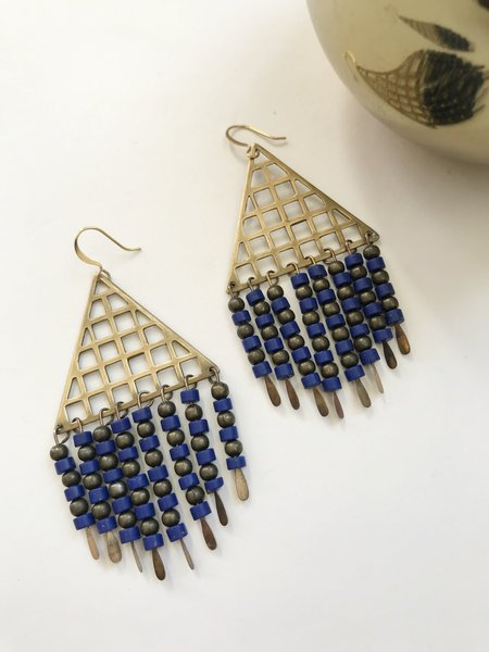 Native Rainbow Lapis Grid Earrings