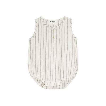 Go Gently Nation Woven Tank Onesie - Natural/Black Stripe