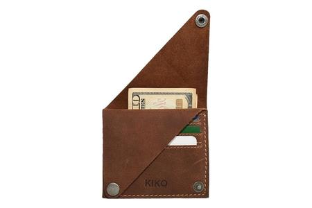 Kiko Leather Wing Fold Card Case - Brown