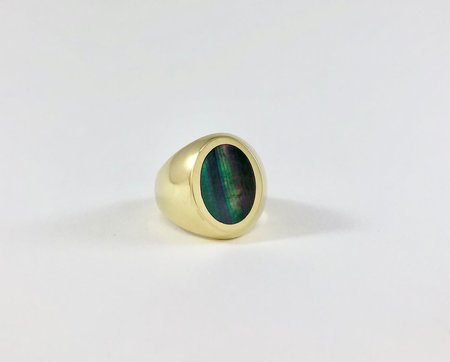 Legier Oval Stone Signet Ring - Black Mother of Pearl
