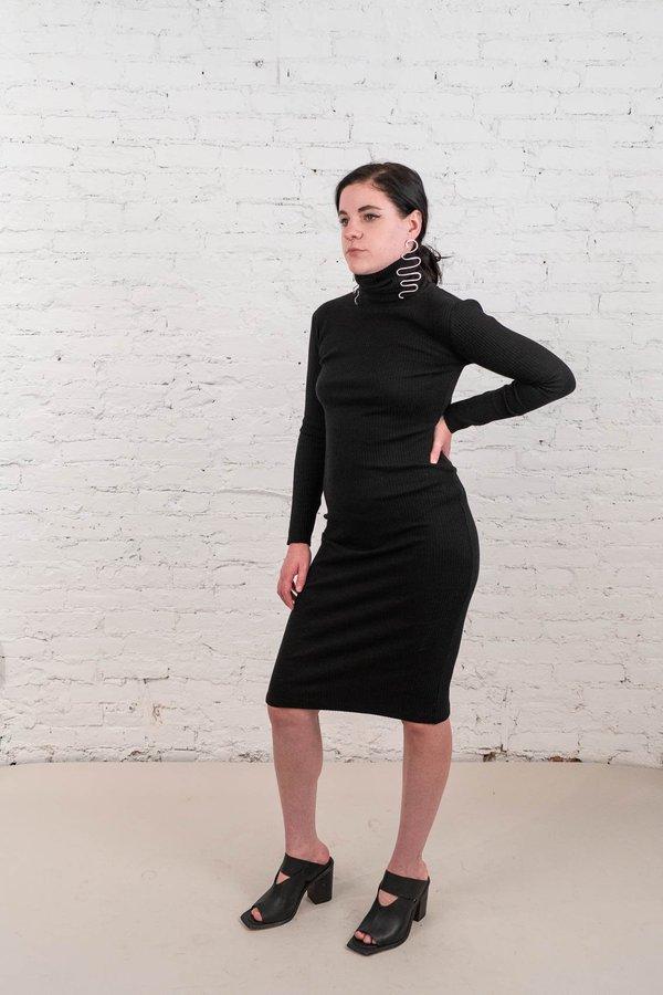 Delfina Balda Turtleneck Ribbed Dress - Black