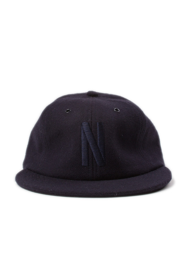 Norse Projects 6 Panel N Wool Flannel Flat Cap Navy  a2bc1fc02b9