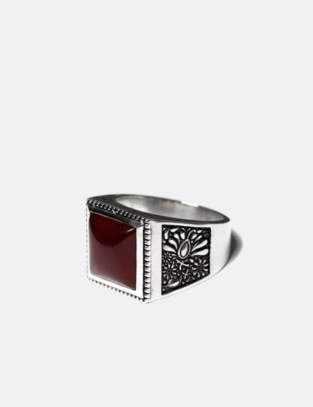 Maple Buick Ring (Signet) - Silver/Red Garnet