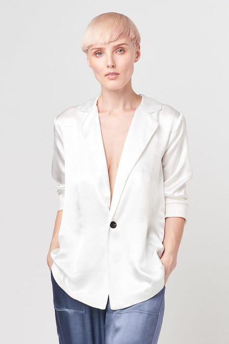 Tina Jo Satin Blazer- White