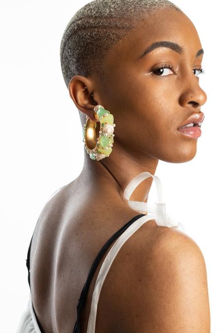 VINTAGE Resin & Shell Hoop Earrings