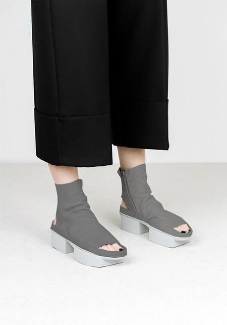 Trippen Open Toe Side Zip Low Platform Bootie - true grey
