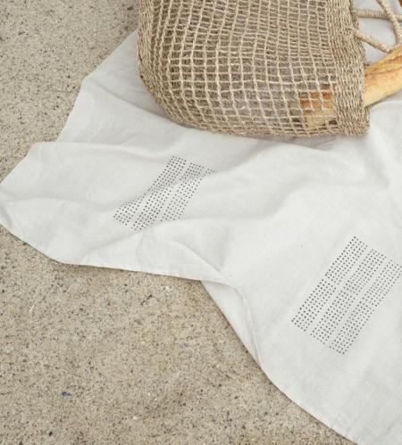 Kesslyr Dean Natural block print linen throw
