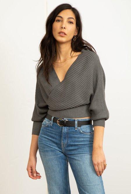 Azalea Annie Wrap Dollman Sweater - Charcoal