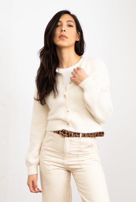 Azalea Elyse Button Front Fuzzy Cardigan - Ivory