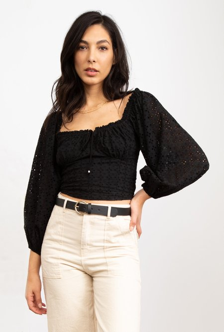 Azalea Esme Long Sleeve Eyelet Crop Top - Black