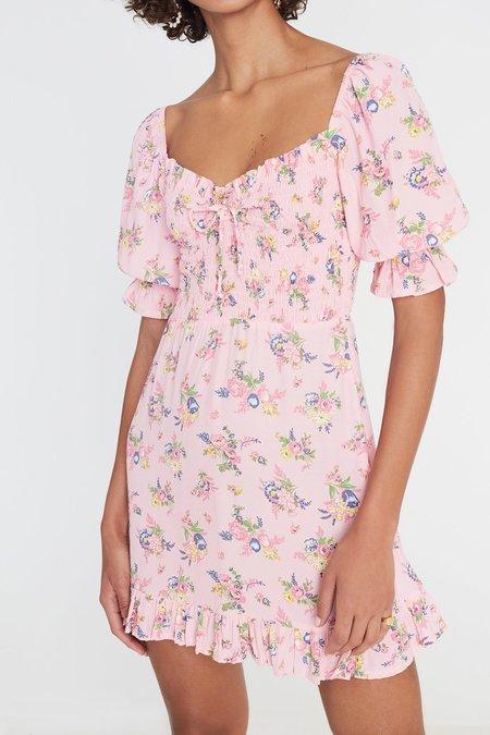 Faithfull The Brand Juliette Floral Sage Mini Dress - Pink
