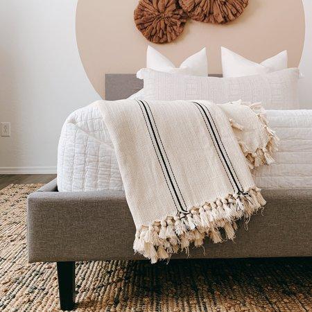 Turkish Cotton Bedspread Blanket - Black Stripe
