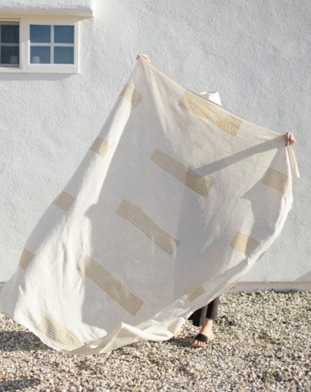 Kesslyr Dean Helen Block Print Linen Throw