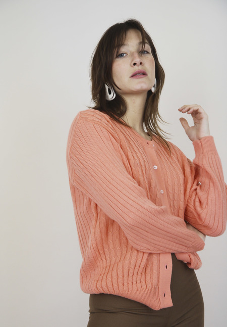 Peach Contrat Knit Cardigan