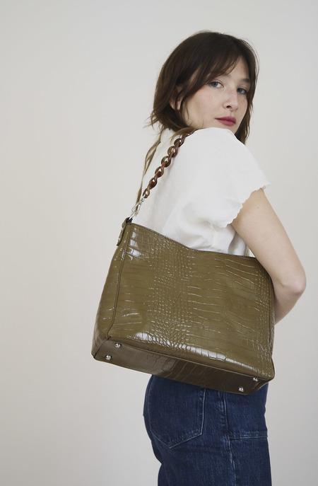 HVISK Amble Croco Handbag - Olive