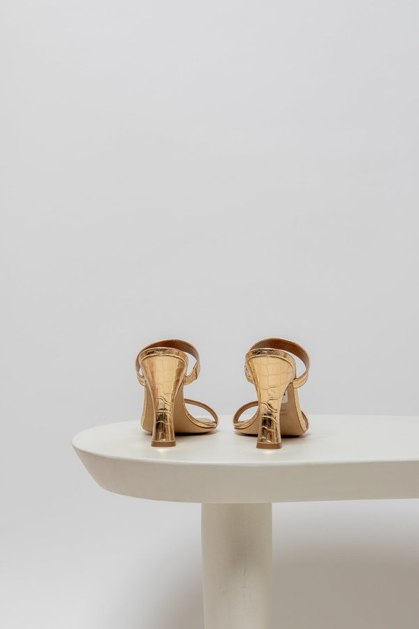 Paris Texas Two Strap 95 Mule - Metallic Gold Croco