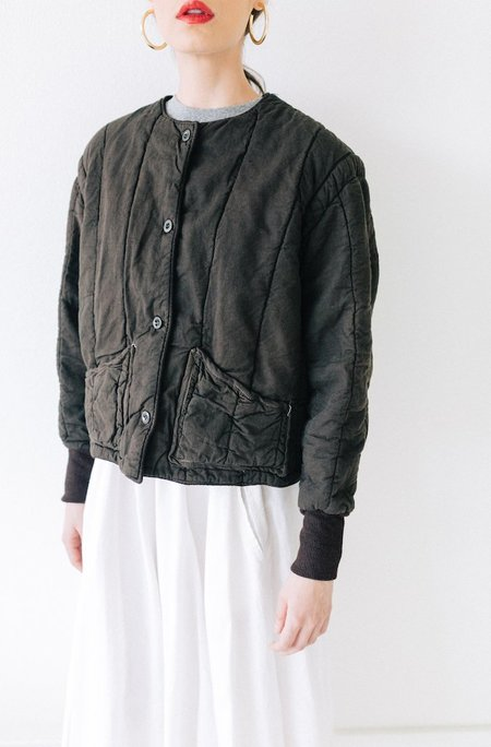 Yo Vintage! QUILTED JACKET - CHOCOLATE BROWN