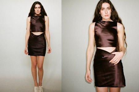 Bevza Bordo Mini Dress - Rich Brown