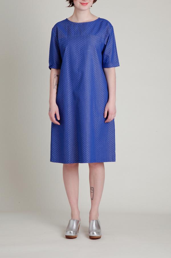 A.Cheng A Line Shift Dress - Blue/White