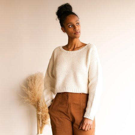 First Rite Crop Pullover - Natural