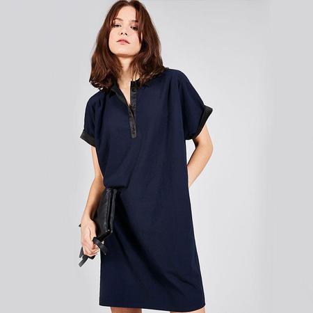 Cotélac Satin straight dress - Navy
