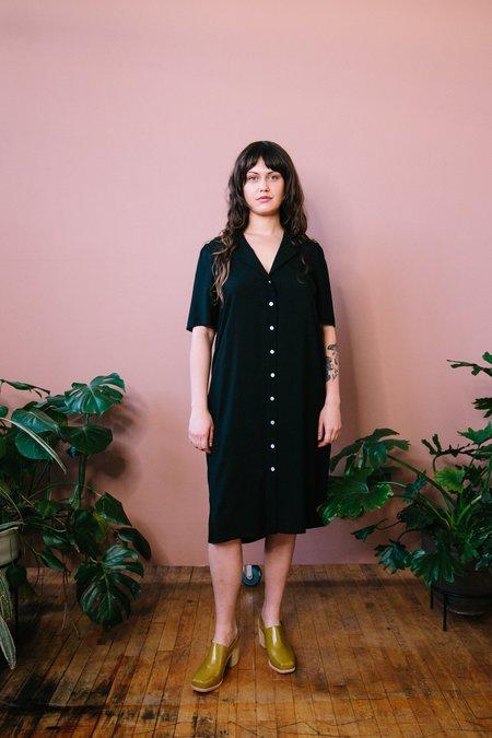 Altar Houseline Button Down Midi Length Dress - Black