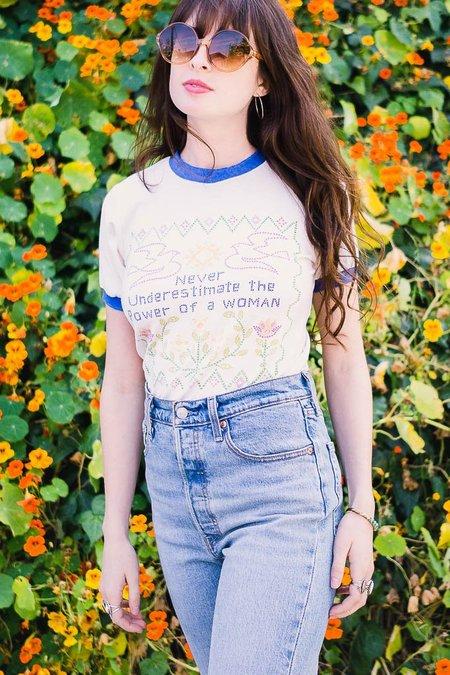 Stoned Immaculate Feminist Ringer Tee - White / Ivory