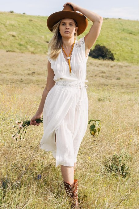 Double Zero Gauze Lace Wrap Dress - Off White