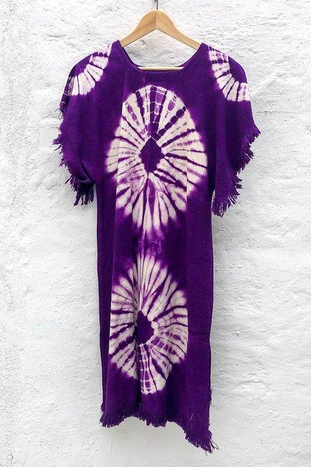 The Canyon Vintage Vintage Purple Linen Tie Dye Dress