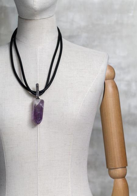 Dark Gem Amethyst Crystal and Leather Necklace