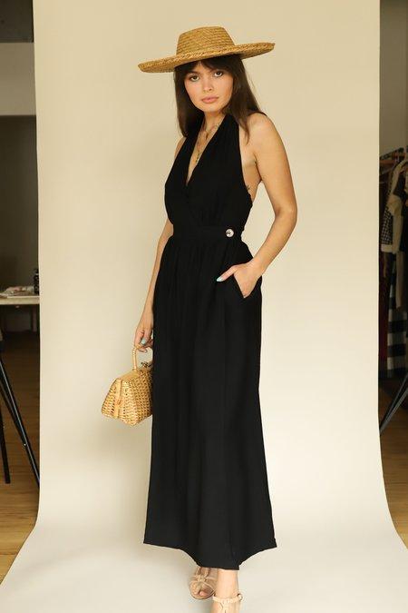 Lush Halter Wrap Dress - Black