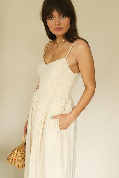 MOODIE Cream Smocked Waist Midi Dress