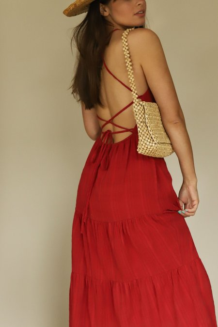 Lush Halter Strappy Back Tiered Maxi Dress - Red
