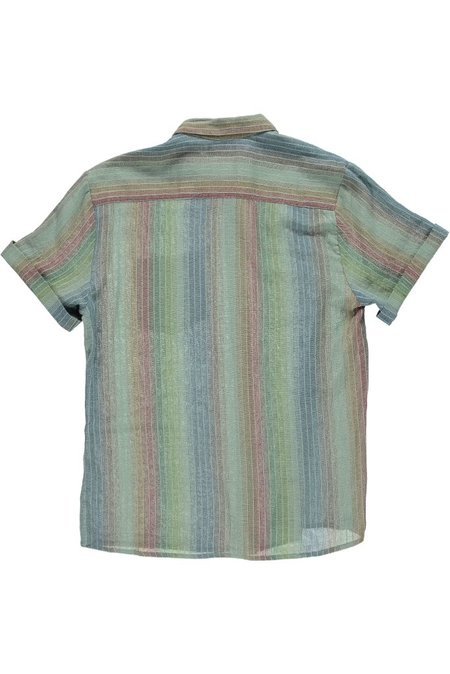 Raga Man SS Button down shirt - Faded blue/green/red